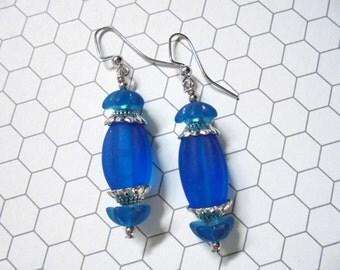 Dark Aqua Blue Earrings (2355)
