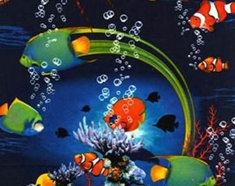 Reef Fish Fabric Oceanic Fabric Tropical Ocean Fish Novelty Fabric 1 yd