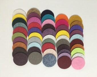 Wool Felt Circles 50 - 1 inch Random Colored 3450 - felted circles - circle die cuts - 1 inch circle die cut - headband supplies