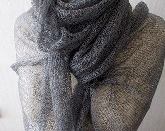 Linen Scarf Grey Knitted Natural  Summer Shawl  Wrap Natural for Women