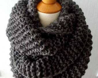 Chunky Cowl Circle Scarf Shoulder Warmer Hand knitted  in Dark Brown  for Men Women Soft and Warm Winter Accessory