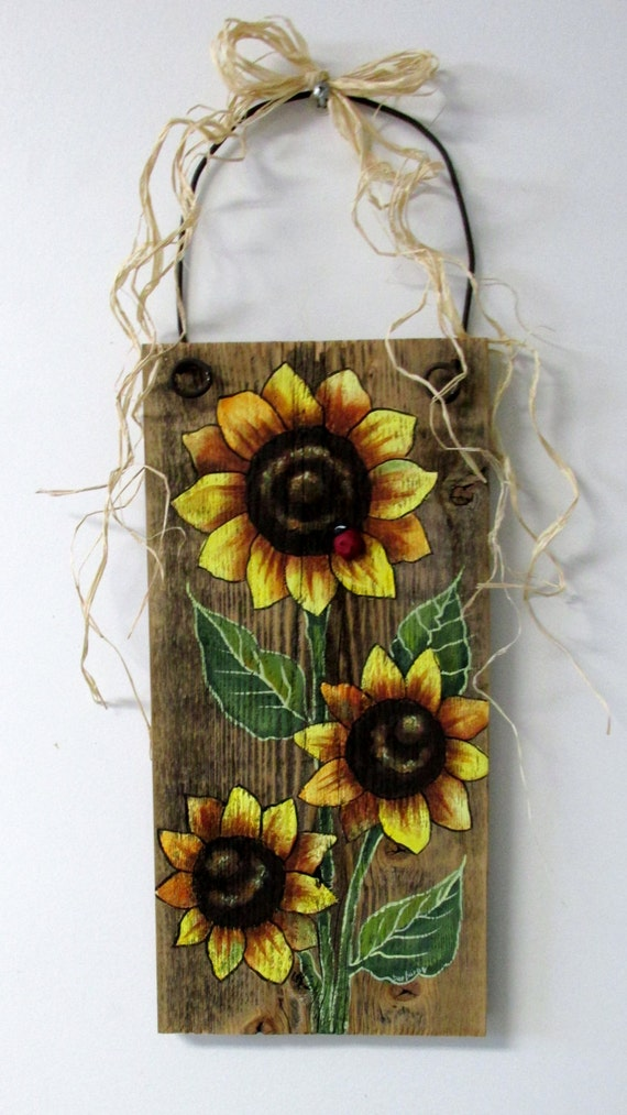 Sunflowers Yellow Tole Painted On Reclaimed Barn Wood Summer
