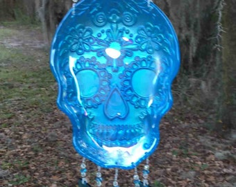 Aqua Glass Day of the Dead Dish, Highly Iridescent, Upcycled into a Windchime with Aqua and Iridized Stained Glass Chimes