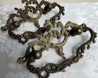 Antique Ornate Brass Drawer Pulls Pair Set of 2 With Flourishes Scrolls Movable Handle Dark Patina, Vintage Salvage Metal Furniture Hardware