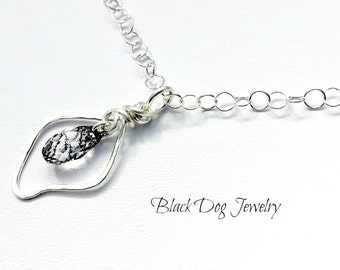 Sterling Silver Hammered Wire Wrapped Leaf and Crystal Necklace - Wire Leaf Pendant - Minimalist Jewlery
