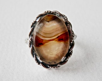 Art Deco Ring, Sterling Silver, Moss Agate Ring, Clark & Coombs, Vintage Jewelry, Size 6.5 Ring
