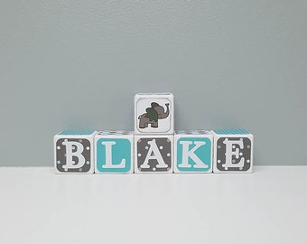 Baby Shower Decorations, Blue and Brown Baby Name Blocks, Elephant Theme