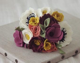 Cream anemone, plum and mustard yellow felt flower bouquet