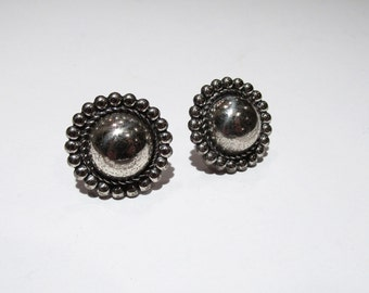 Vintage Sterling silver round danish modern screw clip on earrings