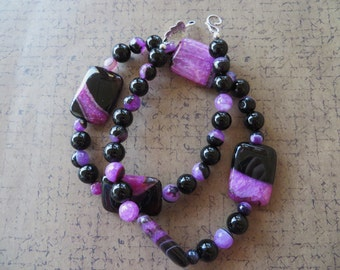 Pink and Black Agate with Onyx Beaded Necklace
