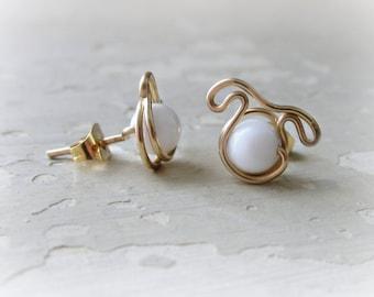 White Dog Studs, Gold Filled Posts, Animal Lover Gift, Dog Post Earrings,White Stud Earrings, Dog Jewelry,Little Dog Earrings,Dog Lover Gift