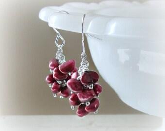 Freshwater Pearl Dangles, Real Pearl Earrings, Short Dangle Earrings, Sterling Pearl Earrings, Red Pearl Earrings, June Birthstone