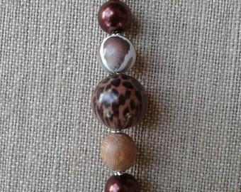 Brown and Animal Print Purse Jewelry/ Purse Charm