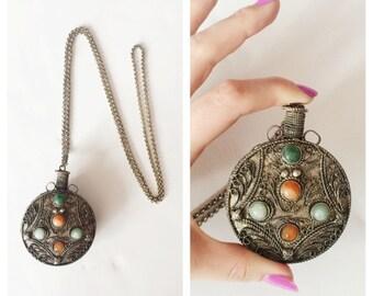 Vintage Perfume Vial Pendant w/ Stone Accents- Silver Vase Tribal Ethnic Boho Huge Necklace