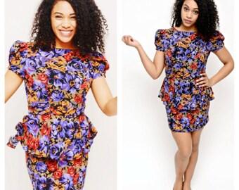 90s Floral Peplum Dress- Mini, M, 6, Grunge Hipster Dress, Purple Muliticolor Burnout Summer Festival Dress