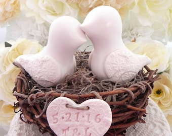 Rustic Ivory  Love Bird Wedding Cake Topper, Personalized Heart - Bride and Groom - Simple and Elegant