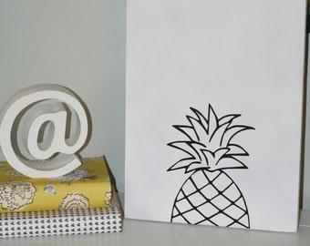 Pineapple, Pineapple Decor, Pineapple Sign, Black and White Pineapple, Pineapple Decoration, Custom Sign, Choose your Colors