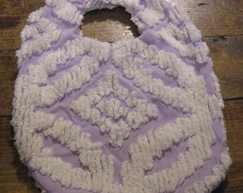 Chenille Baby Bib, White on Purple