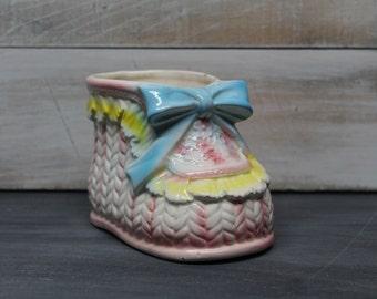 Vintage Relpo Ceramic Nursery Planter, Nursery Decoration, Bootie