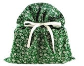 Big Green Fabric Gift Bag with Snowflakes for Christmas, Winter Birthday, or Other Occasion