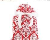 On Sale til Sun -- Red and White Damask Fabric Gift Bag for Christmas, Valentine's Day, Bridal Shower, or Any Occasion