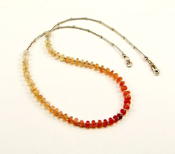 Stunning Ombre Mexican Fire Opal Necklace - N57N
