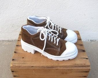 90s Platform Flatform Sneakers Club Kid Raver Oxford Heeled Tennis Shoes Olive Brown Suede Size 8, 8.5, 10