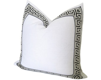 Athena Linen Pillow Cover - Greek Key Trim Pillow - White Linen - Black Greek Key Trim - Decorative Pillow - Designer Pillow - Black
