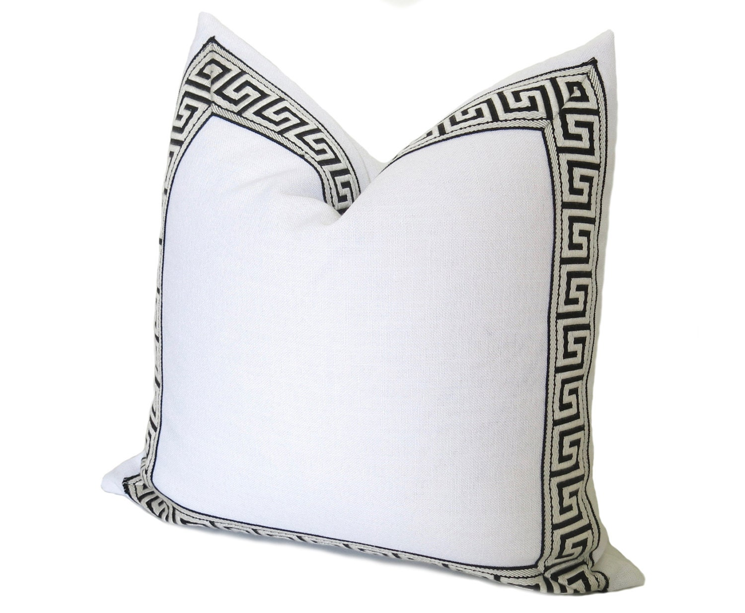 Throw Pillow Trim : Athena Linen Pillow Cover Greek Key Trim Pillow White