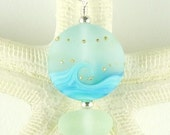 Cresting Wave Lampwork Eco Friendly Aqua Sea Glass Jewelry Beaded Necklace