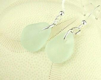 GENUINE Aqua Sea Glass Earrings, Sterling Silver Dangle Earrings, Aqua Blue Seaglass Earrings, Beach Glass Earrings, Beach Earrings