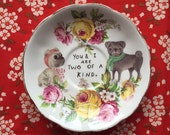 Two of a Kind Pug Couple with Bright Floral Vintage Illustrated Valentines Day Plate