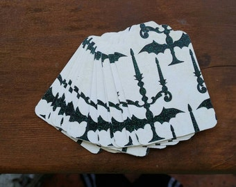 15 extra large Halloween gift tags with black glitter chandeliers