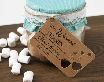 Hot Choc Favour Gift Tag Thank You Tag 'Warmest Thanks' Set x32 Favour Tag