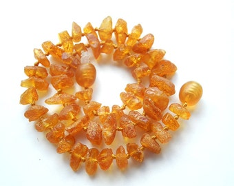"""11"""" Natural Baltic Amber child necklace, amber teething neclace, raw beads, honey color amber necklace, free shape beads"""