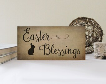 Easter Blessings Primitive Sign, Happy Easter Sign, Primitive Easter, Easter Wall Decor with Bunny