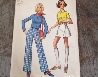 Vintage Simplicity Sewing Pattern 8759 Misses' Size 14 Bust 36 Waist 27 Shirt Pants Pantskirt
