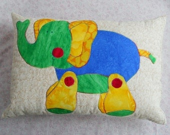 Toy Elephant Pillow Red Yellow Blue