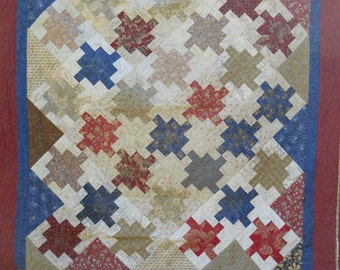 Lap Quilt Throw Quilt Brown Maroon Cream Flowers Leaves Free Motion Flowers Country Colors Quilt Bedding Large Bed Runner Bed Topper Blanket