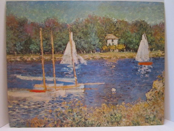 Sailboats in Argenteuil Lithograph on Mat Board by Claude Monet titled Bassin d' Argenteuil