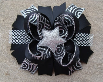 Silver and Black Boutique Stacked Hair Bow