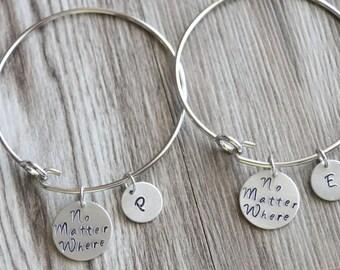 No Matter Where Bangle Set, Personalized Gifts, Hand Stamped Bangle, Initial Bangle, Friendship Gift, Distance Friendship Bangle Gift Set