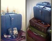 60's Vintage Suitcase Medium Blue American Tourister Luggage with Buckle Medium stacking suitcase nesting Retro Travel Case vintage Luggage