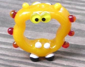 Hot Yellow Red Orange Screaming Alien Lampwork Glass Handmade SRA Artisan Bead NLC Beads leteam