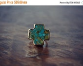XMAS IN JULY Marble Cross /// Turquoise Cross Electroformed Gemstone Ring /// Gold
