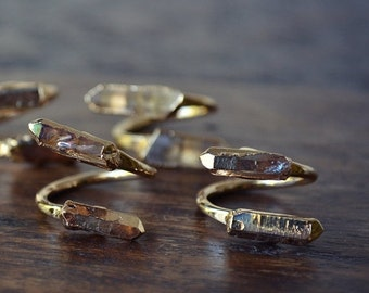 50% OFF LUX DIVINE /// Semi Adjustable Clear Crystal Point Wrap Ring /// Stackable Gemstone Gold Electroformed Ring