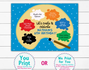 Paint  Birthday Party Invitation -- art party - arts and crafts party - printable invitation
