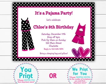 Pajama party birthday invitation slumber party sleepover -- printable invitation -- You print or I print
