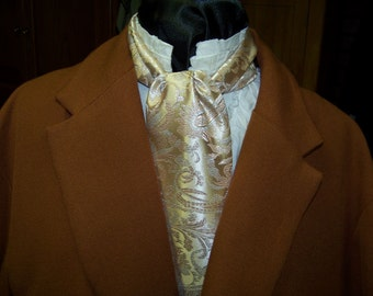 Ascot or Cravat Champagne,beige and tan  Spiral Pattern or Ascot Mens Victorian Tie great for Civil War reenacting Ball.
