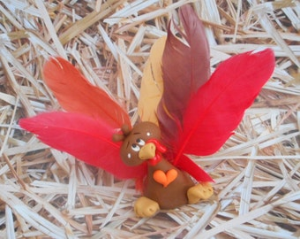 FREE SHIPPING!  Polymer Clay Turkey with Feathers - FIGURINE
